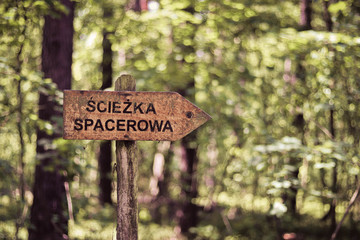 "Sign ""walking path"" in polish Kampinos National Park (Kampinoski Park Narodowy), Mazovia, Poland."