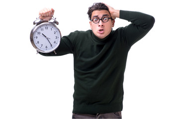 Nerd young money with giant clock isolated on white