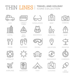 Collection of travel and holiday thin line icons