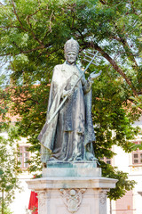Bronze statue of Pope Innocent XI in Budapest castle
