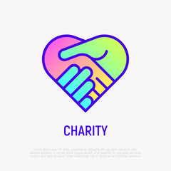 Handshake in heart thin line icon with gradient. Symbol of charity, togetherness, agreement and collaboration. Modern vector illustration.