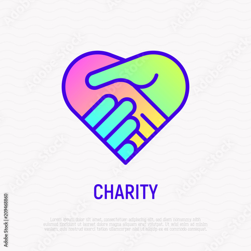 Handshake In Heart Thin Line Icon With Gradient Symbol Of Charity