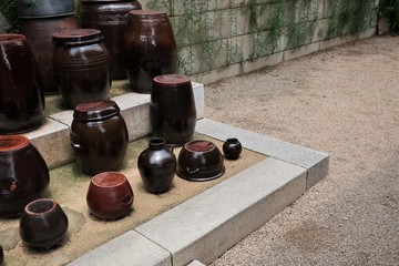 The platform for crocks of sauces and condiments of the Korean traditional house