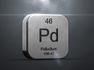 Palladium element from the periodic table. Metallic icon 3D rendered with nice lens flare