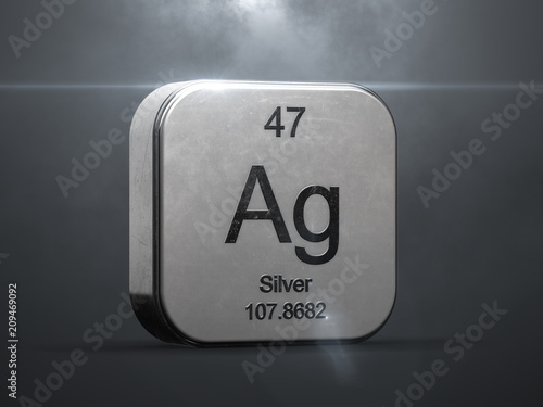 Silver Element From The Periodic Table Metallic Icon 3d Rendered