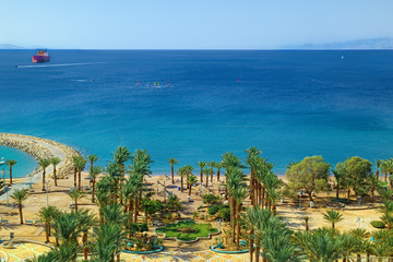 Red Sea coast and beach in Eilat, Israel