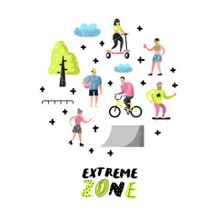 Extreme Sports Cartoons. Teenager Skateboarding, Man on Bicycle, Girl Rolling. Active Characters People Playing Outdoor. Vector illustration