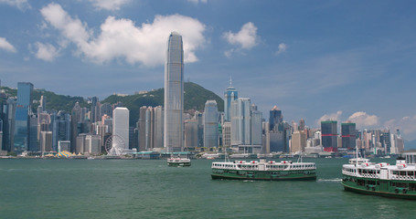 Hong Kong urban city skyline in sunny day