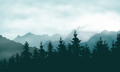 Realistic illustration of a coniferous forest in a mountain landscape in a haze under a green sky with clouds