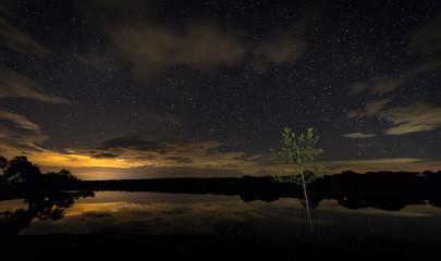Night landscape near Santibañez el Bajo. Extremadura. Spain