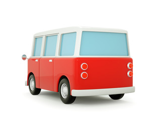 van cartoon 3d back