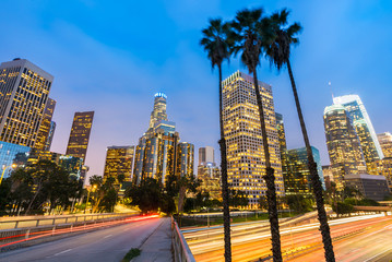 Autocollant pour porte Los Angeles Los Angeles Downtown Sunset