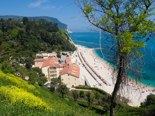 Wall Mural - The wonderful beach of Numana, mount Conero, Italy.