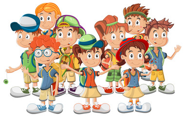 Group of School Children vector illustration