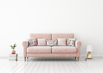 Interior wall mock up with pink pastel sofa, flower pattern pillows, pineapple lamp, books and plant in vase in living room with empty white wall. 3D rendering.