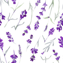 watecolor lavender delicate seamless pattern on white background