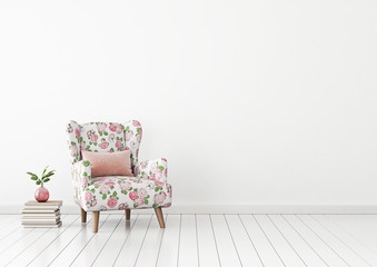 Interior wall mock up with flower pattern armchair, pink pillow and plant in vase in living room with empty white wall. 3D rendering.