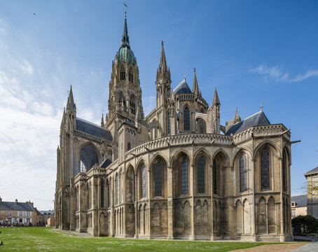 Bayeux's 13th century Gothic cathedral on a spring day in Normandy, France
