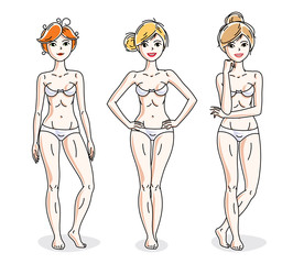 Happy cute young women standing in white underwear. Vector characters set.