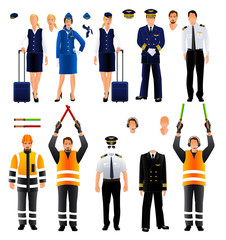 Pilot stewardess and air traffic controller uniform