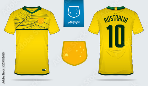 Soccer jersey or football kit template design for Australia national football  team. Front and back 24b7d81aa