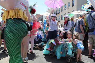 Participants are seen at the 2018 Coney Island Mermaid Parade in the Brooklyn borough of New York