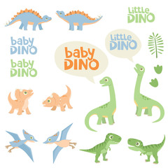 Pastel Color Cute Baby Dino Design Set Vector Illustration Isolated on White