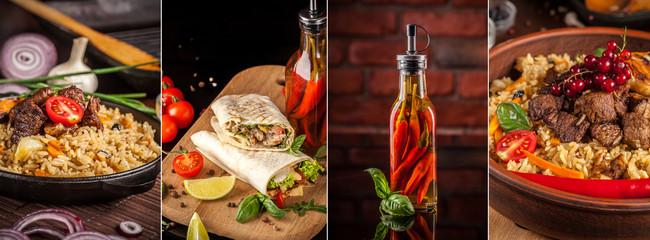 Traditional oriental, Uzbek cuisine, salad, chuchvara, pilaf, manti and samsa, a set of dishes made in one set