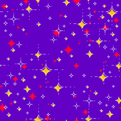 Space seamless background with stars, undiscovered galaxy cosmic fantastic and interesting textile fabric for children, endless tiling pattern, vector illustration.