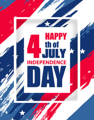 Colorful modern background for Independence Day USA 4th July. Dynamic design elements for poster or banner vertical template. Vector
