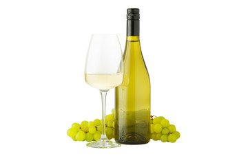 White wine in bottle and glass