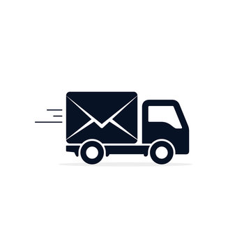 Post Truck Car icon, Vector isolated delivery symbol