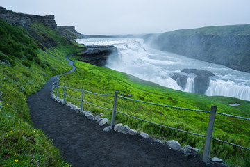 Gullfoss Waterfall, tourist attraction of Iceland