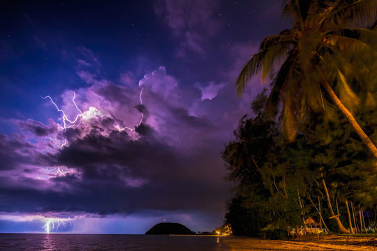 Lightening storm over Koh Samui, Thailand