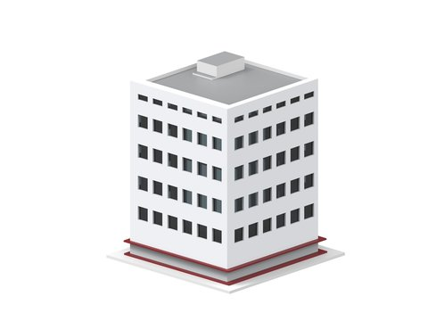 Low poly apartment building - white