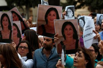 Matthew Caruana Galizia, son of assassinated investigative journalist Daphne Caruana Galizia, attends a vigil and demonstration marking eight months since her murder in a car bomb, in Valletta