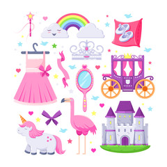 Little princess pink icons set. Vector illustration of unicorn, castle, crown, flamingo, girls dress, rainbow, carriage