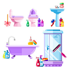 Bathroom and sanitary engineering cleaning. Vector isolated icons set.