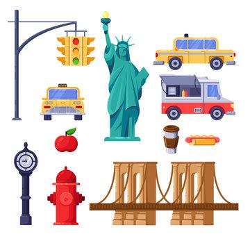 New York city symbols set. Vector travel isolated illustration. Yellow taxi, Statue of Liberty, Brooklyn Bridge icons.