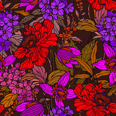 Seamless pattern with flowers poppy and hydrangea