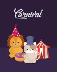 Carnival circus design with cute lion and cat over purple background, colorful design. vector illustration