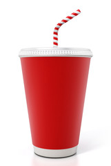 Paper soda cup isolated on white background. 3D illustration