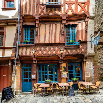 A quaint restaurant with wonky architecture in the stunning town of Rennes, Brittany