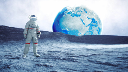 Astronaut on the moon. 3d rendering.