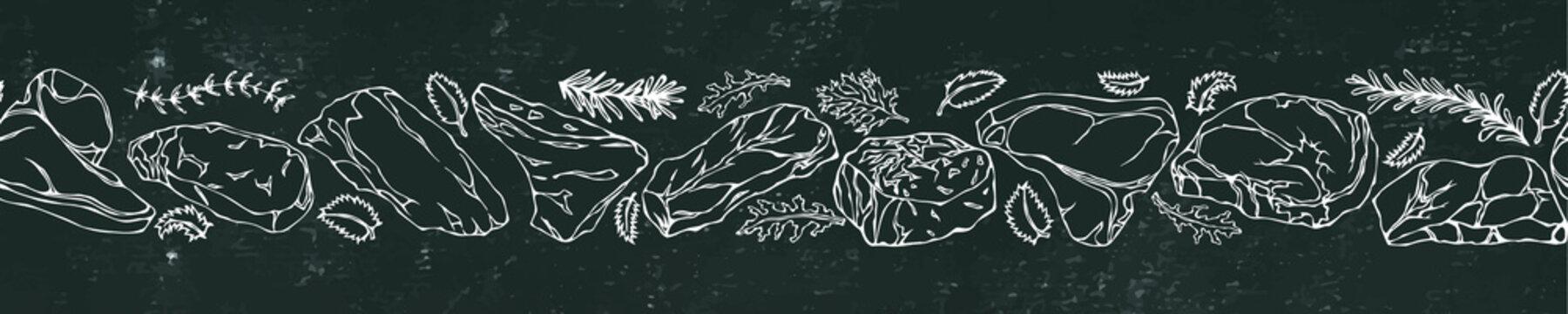Black Board Background and Chalk. Ribbon of of Popular Steak Types.Steak House Restaurant Menu. Hand Drawn Illustration. Savoyar Doodle Style. Porterhouse, T-bone, New York Strip, Rib Eye.