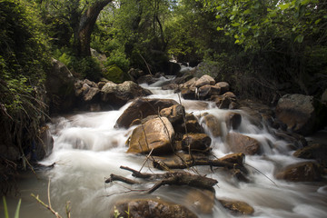 Long exposure with silk effect in the waters of a river in Dchar El Khizana, near Chaouen, Morocco.