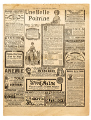 Newspaper pages antique advertising Used paper background