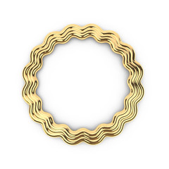 3d render of gold shape round star frame with copy space, with place for text, jewel, on white background in high resolution