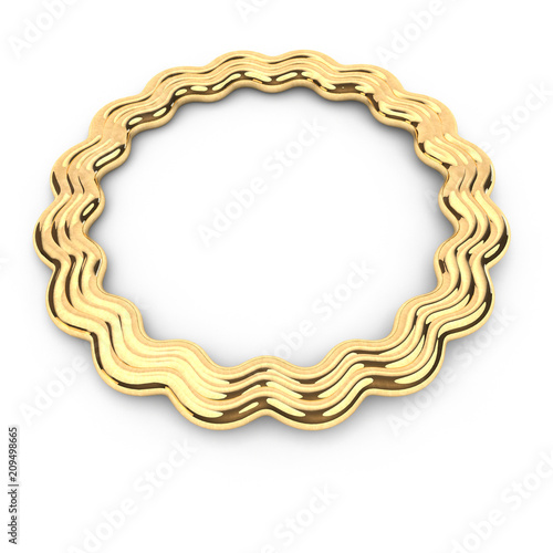 3d render of gold shape round star frame with copy space, with place ...