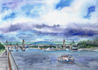 City landscape with a river, embankment and water transport, watercolor painting. Landscape of Moscow, Andreevskaya Embankment, view of the bridge.